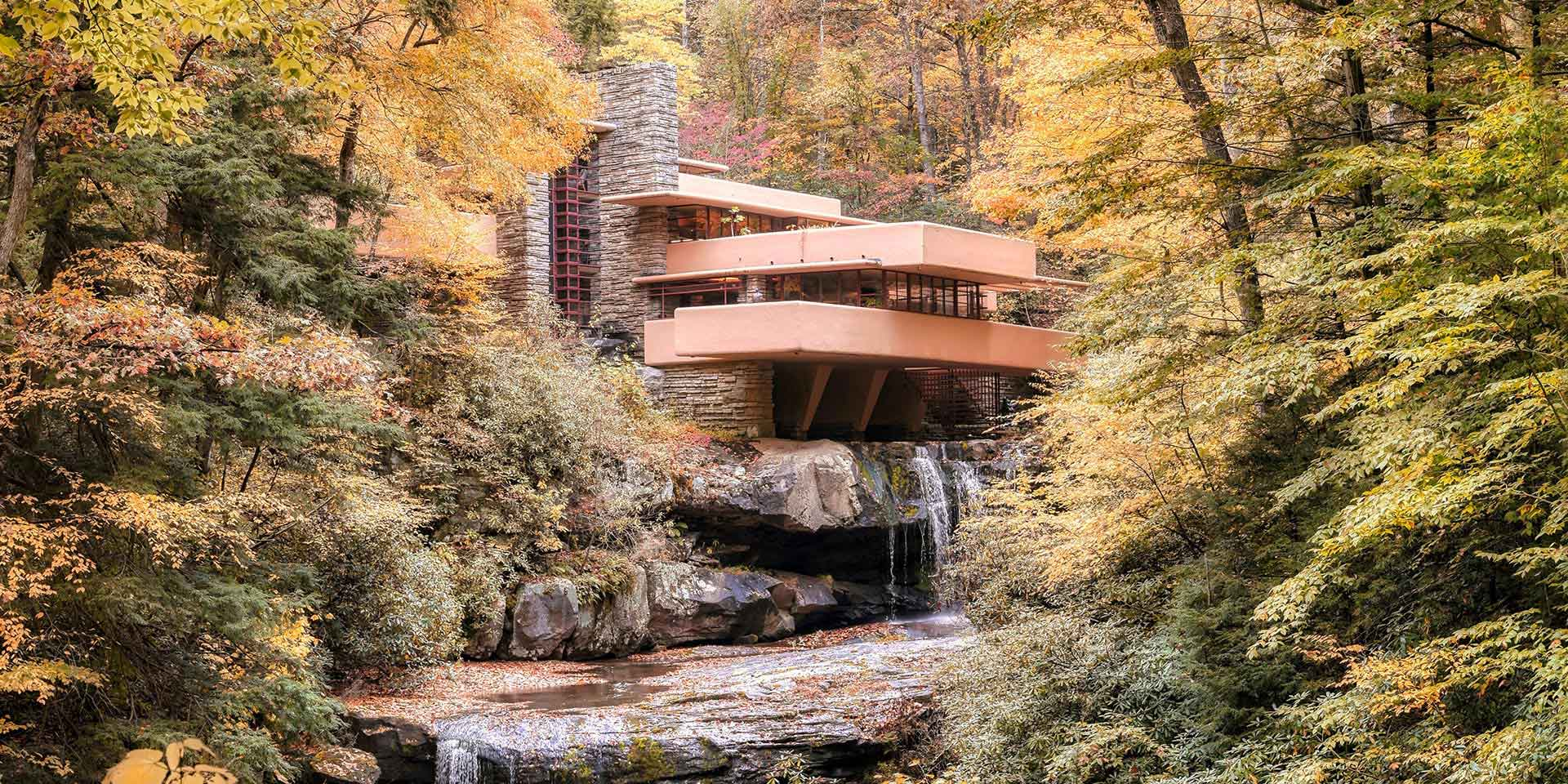Fallingwater home in the woods